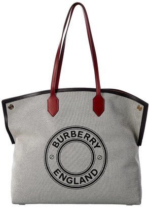 Burberry Large Logo Canvas & Leather Tote