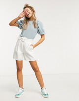 Monki jersey puff sleeve top in sage turquoise
