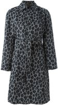 Saint Laurent belted leopard print coat