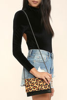 LuLu*s Fearless Black and Pony Fur Leopard Print Clutch