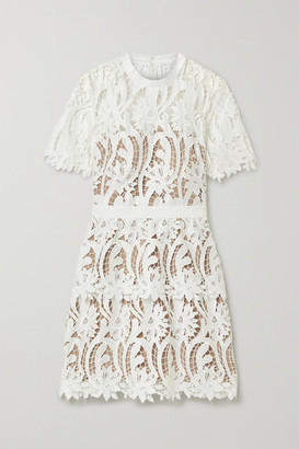 Self-Portrait Grosgrain-trimmed Guipure Lace Mini Dress - White