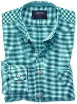 Charles Tyrwhitt Slim Fit Button-Down Non-Iron Oxford Gingham Green Cotton Casual Shirt Single Cuff Size XL