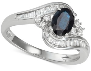 Macy's Sapphire (1 ct. t.w.) & Diamond (3/8 ct. t.w.) Ring in 14k White Gold (Also in Tanzanite)