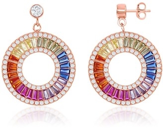 La Preciosa Sterling Silver Rose Gold Plated Rainbow Baguette CZ Open Circle Earrings - 22mm
