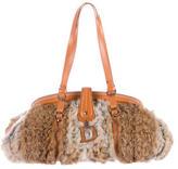 Christian Dior Leather-Trimmed Fur Shoulder Bag