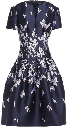 Oscar de la Renta Flared Pleated Jacquard Dress