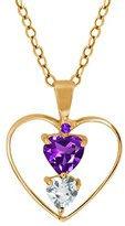 Gem Stone King 0.79 Ct Heart Shape Purple Amethyst Sky Blue Topaz 14K Yellow Gold Pendant With 18 Inch Chain