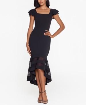 Xscape Evenings Flounce-Hem Midi Dress