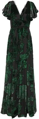Marchesa Notte Ruffled Metallic Devore-velvet Gown