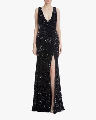 Badgley Mischka Sequin Front-Slit Gown