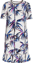 Emilio Pucci Ruffle-trimmed Printed Satin-twill Dress - White