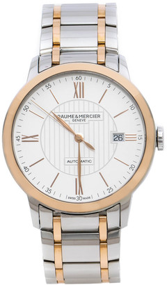 Baume & Mercier White Stainless Steel 18K Rose Gold Capped Classima MOA10217 Men's Wristwatch 40 mm