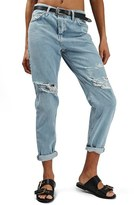 Topshop Women's 'Hayden' Bleach Ripped Boyfriend Jeans