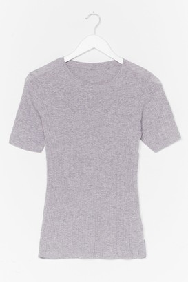 Nasty Gal Womens Scoop Us in Ribbed Fitted Tee - Grey