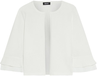 DKNY Pleated Crepe De Chine-trimmed Knitted Cardigan
