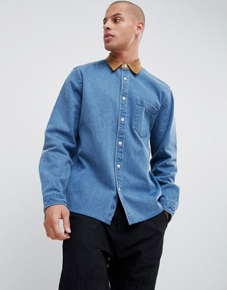 Asos Design DESIGN overshirt in heavy denim with cord collar and cuffs in mid wash-Blue