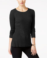 NY Collection Petite Hi-Lo Hem Ribbed Sweater