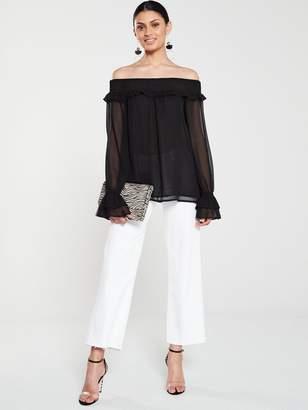 Very Shirred BardotTop - Black