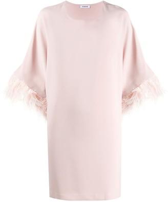 P.A.R.O.S.H. Panters feather trim mini dress