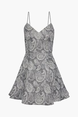 Alice + Olivia Anette Pleated Metallic Jacquard Mini Dress