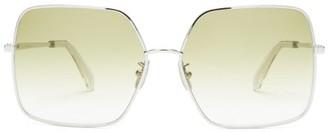 Celine Oversized Square Metal Sunglasses - Green Silver