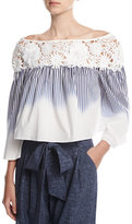 Milly Lilly Ombre-Striped Off-the-Shoulder Crop Top