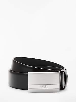 HUGO BOSS BOSS Baxton Brushed Silver Plaque Leather Belt, Black
