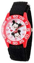Disney Girls' Mickey Mouse and Minne Mouse Red Plastic Time Teacher Watch - Black