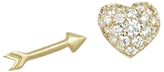 Finn Pave Diamond Heart and Arrow Studs - Yellow Gold