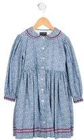 Oscar de la Renta Girls' Corduroy Floral Print Dress