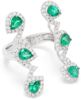 Stéfère 18kt White Gold Diamond Emerald Structured Ring