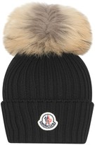 Moncler Black Knitted Hat With Fur Pom Pom