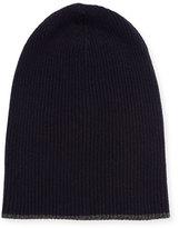 Brunello Cucinelli Cashmere Ribbed Hat w/Reversible Cuff