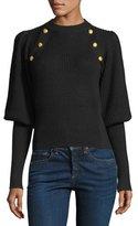 Veronica Beard Jude Crewneck Leg-of-Mutton Sleeve Wool Sweater