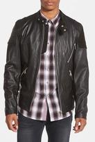 7 Diamonds Brando Suede Trim Genuine Leather Moto Jacket