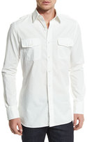 Tom Ford Military-Style Washed Twill Sport Shirt, White