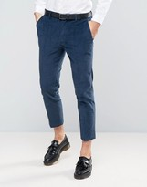 Asos Skinny Crop Smart Trousers In Teal Cord
