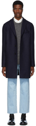 Harris Wharf London Navy Pressed Boxy Coat