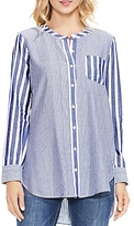 Vince Camuto Mixed Pinstripe Button-Down Tunic