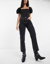 Topshop Editor straight leg jeans in worn black