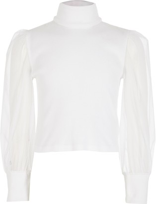 River Island Girls White mesh sleeve high neck ribbed top