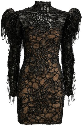 Mikael D Puff-Shoulder Lace Mini Dress