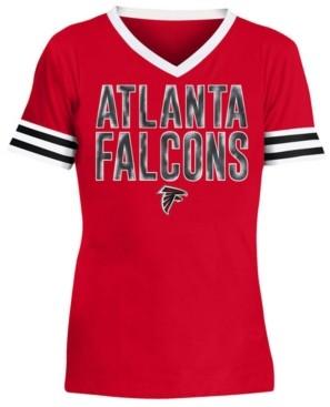 5th & Ocean Big Girls Atlanta Falcons Sequin Stripe T-Shirt