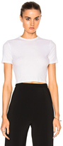 Rosetta Getty Cropped Short Sleeve T-Shirt in White.