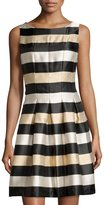 Chetta B Metallic-Stripe A-Line Dress, Black/Gold