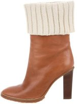 Michael Kors Rib Knit-Trimmed Ankle Boots
