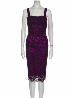 Dolce & Gabbana Lace Pattern Knee-Length Dress Purple