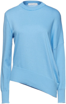 Cédric Charlier Asymmetric Frayed Cotton And Cashmere-blend Sweater