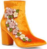 Orange Floral Ankle Boot