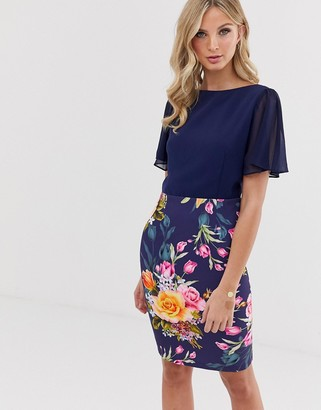 Paper Dolls flue sleeve 2-in-1 printed pencil midi dress-Navy